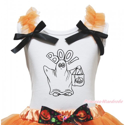 Halloween White Tank Top Orange Ruffles Black Bow & BOO! Print TB1276