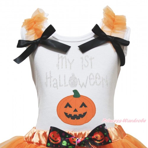 Halloween White Tank Top Orange Ruffles Black Bow & Sparkle Rhinestone My 1st Halloween Pumpkin Print TB1277