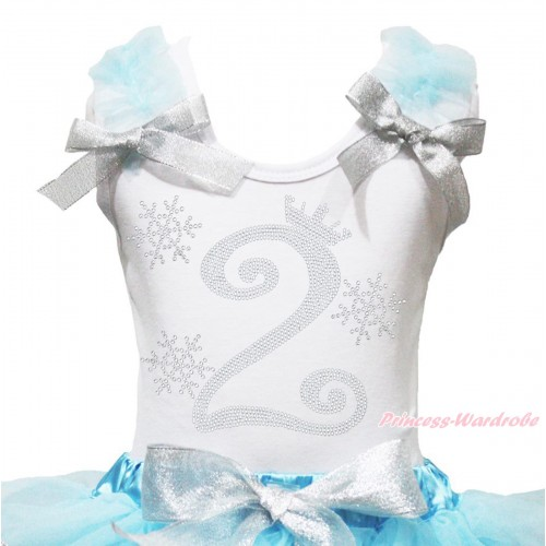 Xmas White Tank Top Light Blue Ruffles Sparkle Silver Grey Bow & 2nd Sparkle Rhinestone Birthday Number Snowflakes Print TB1284