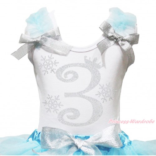 Xmas White Tank Top Light Blue Ruffles Sparkle Silver Grey Bow & 3rd Sparkle Rhinestone Birthday Number Snowflakes Print TB1285