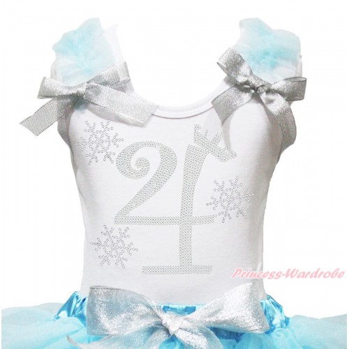 Xmas White Tank Top Light Blue Ruffles Sparkle Silver Grey Bow & 4th Sparkle Rhinestone Birthday Number Snowflakes Print TB1286