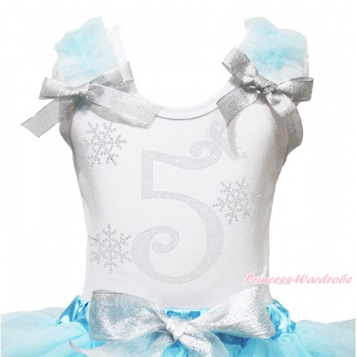 Xmas White Tank Top Light Blue Ruffles Sparkle Silver Grey Bow & 5th Sparkle Rhinestone Birthday Number Snowflakes Print TB1287