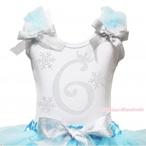 Xmas White Tank Top Light Blue Ruffles Sparkle Silver Grey Bow & 6th Sparkle Rhinestone Birthday Number Snowflakes Print TB1288