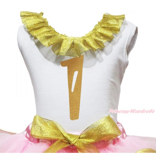 White Tank Top Sparkle Gold Lacing & 1st Sparkle Gold Birthday Number Painting TB1292