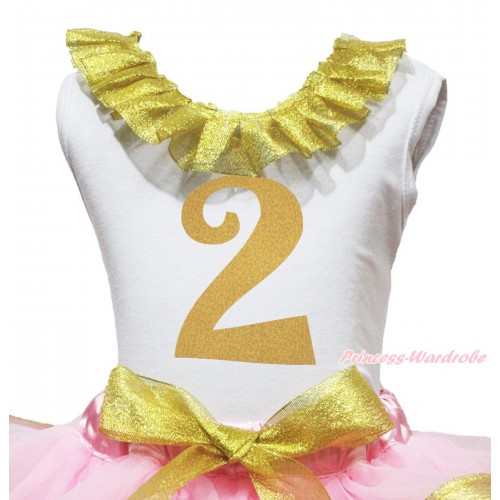 White Tank Top Sparkle Gold Lacing & 2nd Sparkle Gold Birthday Number Painting TB1293