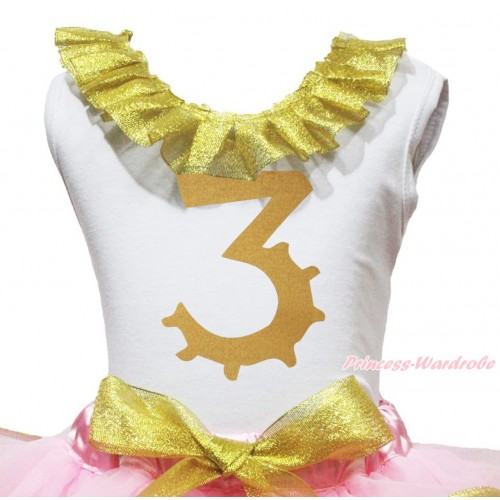 White Tank Top Sparkle Gold Lacing & 3rd Sparkle Gold Birthday Number Painting TB1294