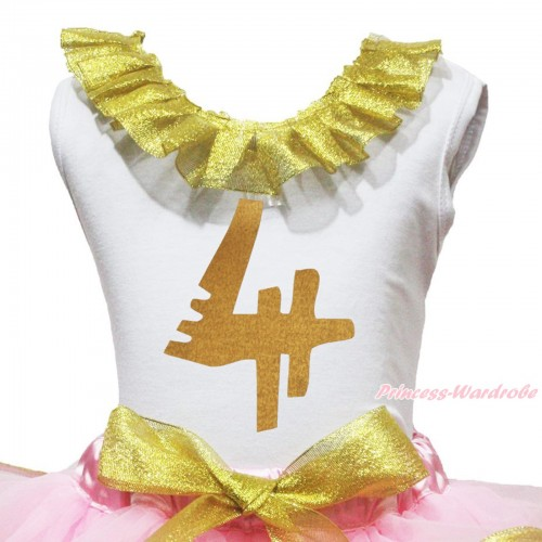 White Tank Top Sparkle Gold Lacing & 4th Sparkle Gold Birthday Number Painting TB1295