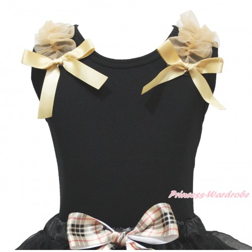 Black Tank Top Goldenrod Ruffles & Bows TB225