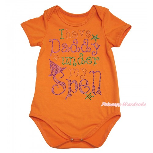 Halloween Orange Baby Jumpsuit & Sparkle Rhinestone I Have Daddy Under My Spell Print TH624