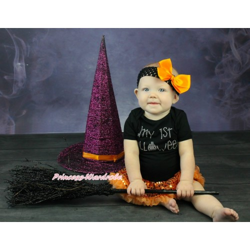 Halloween Black Baby Bodysuit Bling Orange Sequins Pettiskirt & Sparkle Rhinestone My 1st Halloween Print JS4720