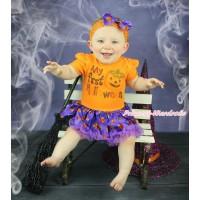 Halloween Orange Baby Bodysuit Dark Purple Pumpkin Pettiskirt & My First Halloween Pumpkin Print JS4721