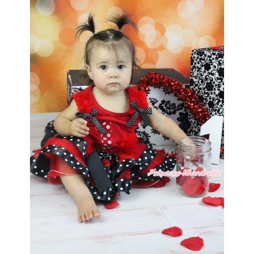 Red Tank Top Red Ruffles Black White Dots Bow & 1st Minnie Dots Birthday Number Cupcake & Red Black White Dots Trimmed Pettiskirt MG1831