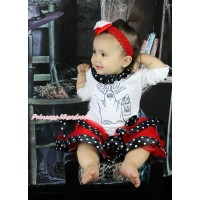 Halloween White Baby Pettitop Black White Dots Lacing & BOO! Print & Red Black White Dots Trimmed Newborn Pettiskirt NG1801