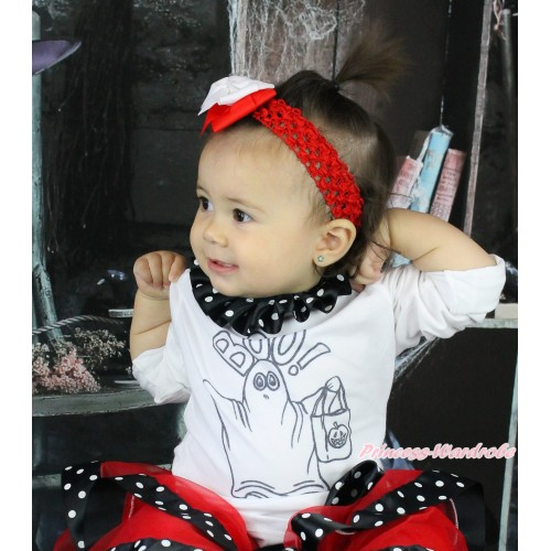 Halloween White Top Black White Dots Lacing & BOO! Print TB1300