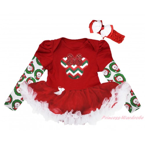 Christmas Max Style Long Sleeve Red Baby Bodysuit Red White Pettiskirt & Red White Green Chevron Minnie Print JS4848