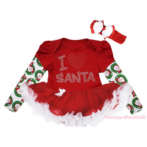 Christmas Max Style Long Sleeve Red Baby Bodysuit Red White Pettiskirt & Sparkle Rhinestone I Love Santa Print JS4850