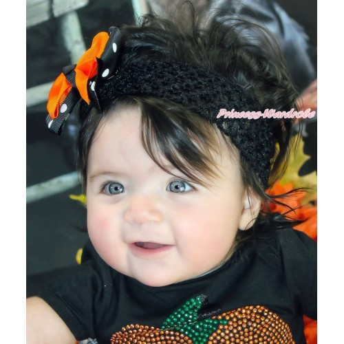 Black Headband with Black White Polka Dots mix Orange Ribbon Hair Bow Clip H438