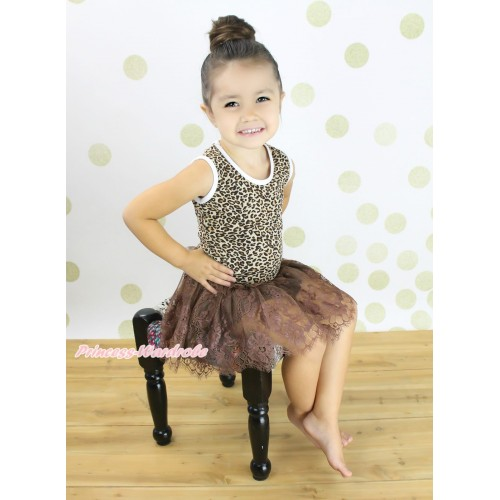 Leopard Sleeveless Brown Lace ONE-PIECE Party Dress LP227