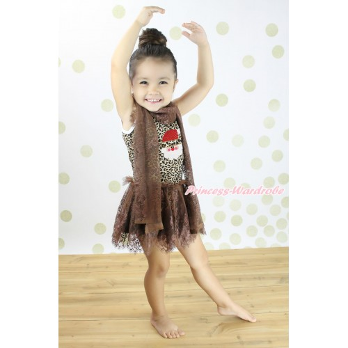 Christmas Leopard Sleeveless Brown Lace ONE-PIECE Scarf Party Dress Set & Leopard Santa Claus Print LP231