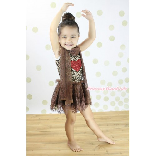 Valentine's Day Leopard Sleeveless Brown Lace ONE-PIECE Scarf Party Dress Set & Sparkle Red Heart Print LP232