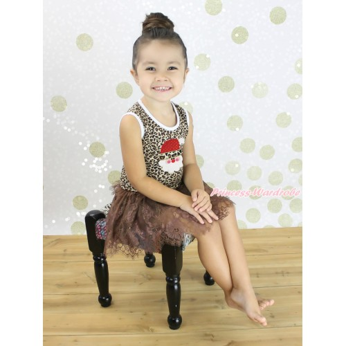 Christmas Leopard Sleeveless Brown Lace ONE-PIECE Party Dress & Leopard Santa Claus Print LP233