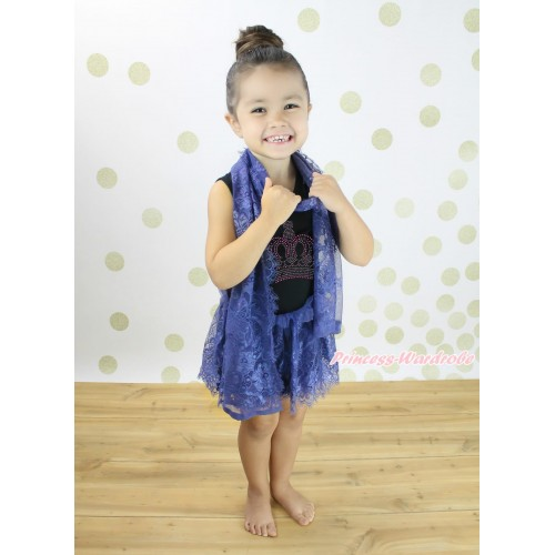 Black Sleeveless Navy Blue Lace ONE-PIECE Scarf Party Dress Set & Rhinestone Crown Print LP236