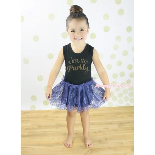 Black Sleeveless Navy Blue Lace ONE-PIECE Party Dress & Rhinestone I M So Sparkly LP237