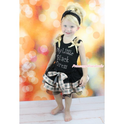Black Tank Top Goldenrod Ruffles & Bow & Rhinestone My Little Black Dress Print & Black Gold Black Checked Trimmed Pettiskirt MG1812