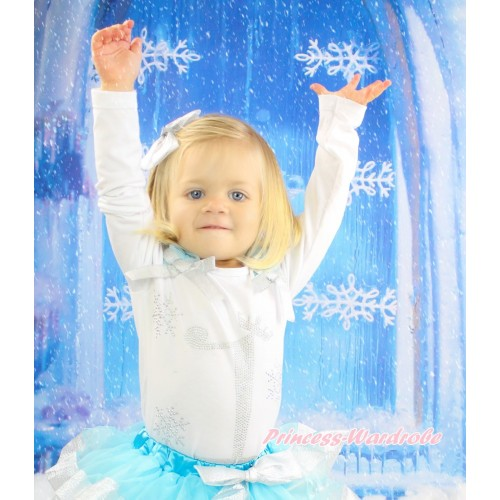 Xmas White Top Light Blue Ruffles Sparkle Silver Grey Bow & 1st Sparkle Rhinestone Birthday Number Snowflakes Print TB1283