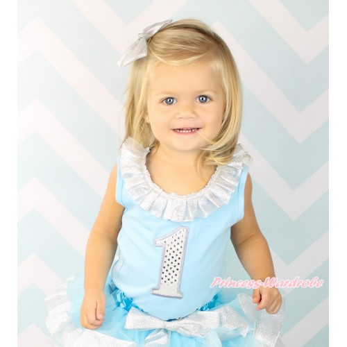 Light Blue Tank Top Sparkle Silver Grey Lacing & 1st Sparkle White Birthday Number Print TB1351