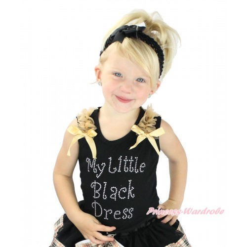 Black Tank Top Goldenrod Ruffles & Bow & Sparkle Rhinestone My Little Black Dress Print TB1352