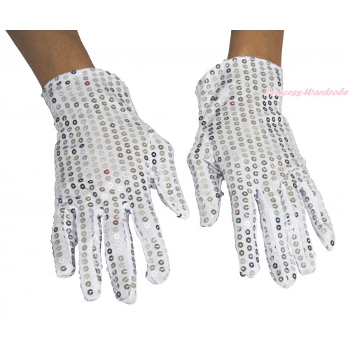 White Sparkle Bling Sequins Adult Gloves Party Costume C422