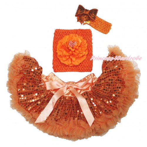 Orange Sparkle Bling Sequins Baby Pettiskirt, Orange Peony Crochet Tube Top, Headband Sequins Bow 3PC Set CT711