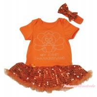 Thanksgiving Orange Baby Bodysuit Bling Orange Sequins Pettiskirt & Sparkle Rhinestone Baby Turkey Print JS4723