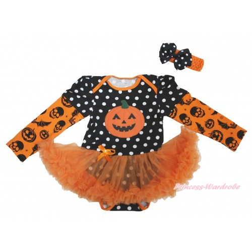 Halloween Max Style Long Sleeve Black White Dots Baby Bodysuit Orange Pettiskirt & Pumpkin Print JS4751