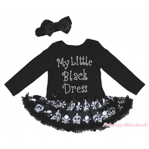 Black Long Sleeve Bodysuit Black Crown Skeleton Pettiskirt & Sparkle Rhinestone My Little Black Dress Print JS4782