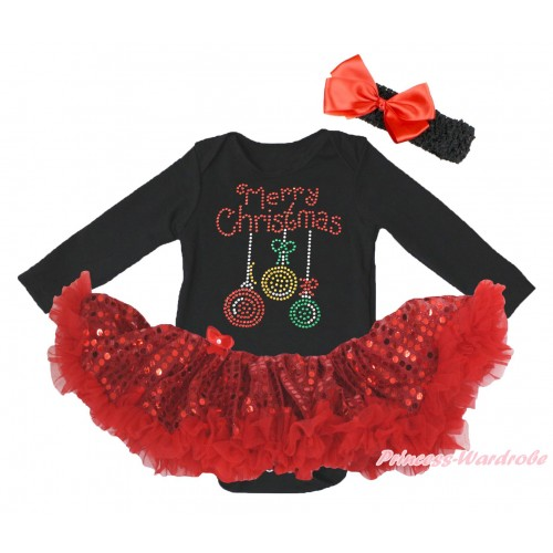 Christmas Black Long Sleeve Bodysuit Bling Red Sequins Pettiskirt & Sparkle Rhinestone Christmas Lights Print JS4866