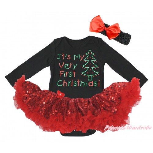 Christmas Black Long Sleeve Bodysuit Bling Red Sequins Pettiskirt & Sparkle Rhinestone It's My Very First Christmas Print JS4867