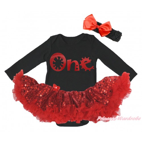 Christmas Black Long Sleeve Bodysuit Bling Red Sequins Pettiskirt & Sparkle Red One Painting JS4868