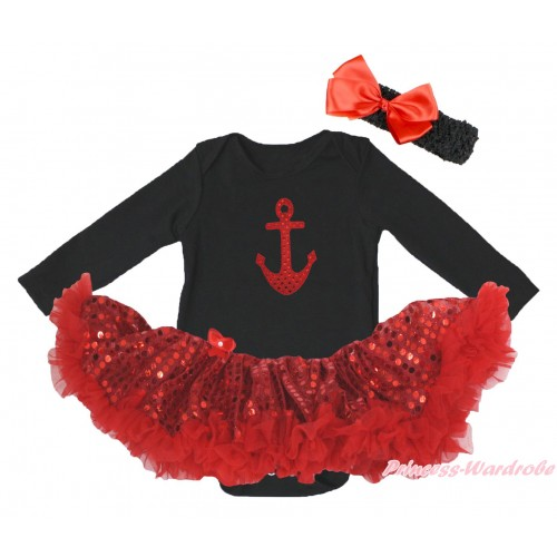 Black Long Sleeve Bodysuit Bling Red Sequins Pettiskirt & Sparkle Red Anchor Print JS4871