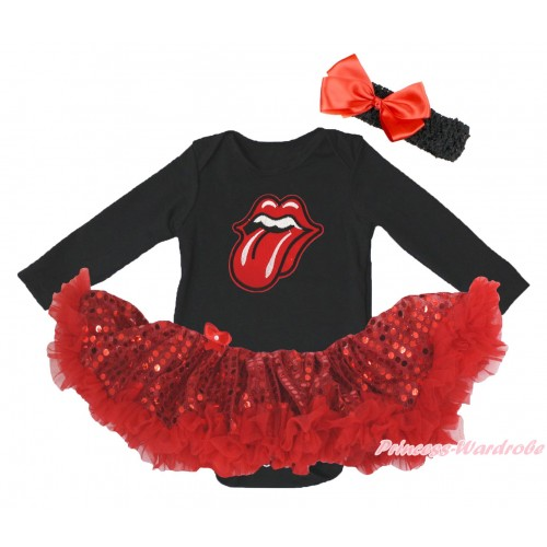 Black Long Sleeve Bodysuit Bling Red Sequins Pettiskirt & Big Red Mouth Print JS4872