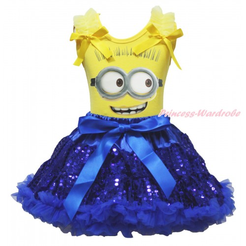Yellow Tank Top Yellow Ruffles & Bow & Minion Painting & Bling Royal Blue Sequins Pettiskirt MG1854