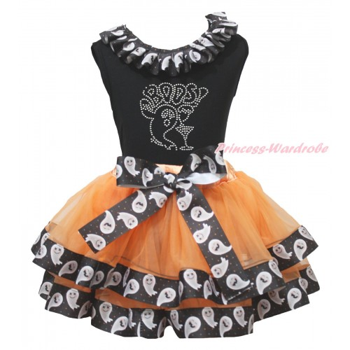 Halloween Black Tank Top White Ghost Lacing & Rhinestone BOOS! Print & Orange White Ghost Trimmed Pettiskirt MG1869