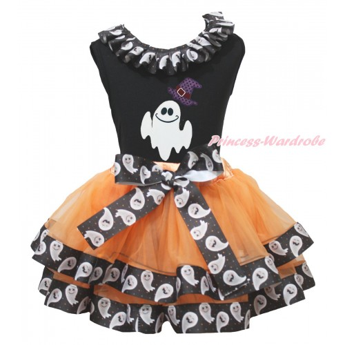 Halloween Black Tank Top White Ghost Lacing & Sparkle Hat White Ghost Print & Orange White Ghost Trimmed Pettiskirt MG1870