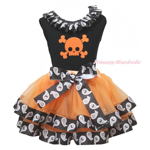 Halloween Black Tank Top White Ghost Lacing & Orange Skeleton Print & Orange White Ghost Trimmed Pettiskirt MG1871