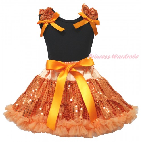Black Tank Top Orange Sequins Ruffles Orange Bow & Bling Orange Sequins Pettiskirt MG1873