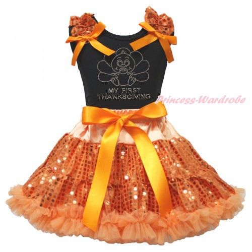Thanksgiving Black Tank Top Orange Sequins Ruffles Orange Bows & Rhinestone Baby Turkey Print & Bling Orange Sequins Pettiskirt MG1880