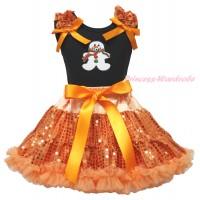 Christmas Black Tank Top Orange Sequins Ruffles Orange Bows & Christmas Gingerbread Snowman Print & Bling Orange Sequins Pettiskirt MG1903