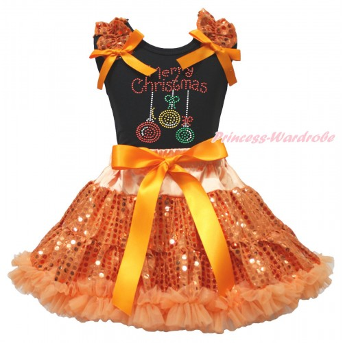 Christmas Black Tank Top Orange Sequins Ruffles Orange Bows & Rhinestone Christmas Lights Print & Bling Orange Sequins Pettiskirt MG1904