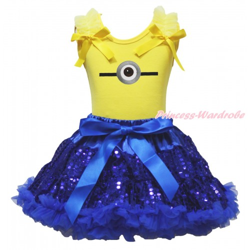 Yellow Tank Top & Ruffles & Bow & Minion Print & Bling Royal Blue Sequins Pettiskirt MG1907
